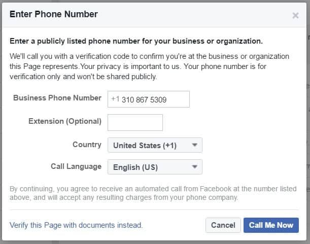 Facebook page phone verification