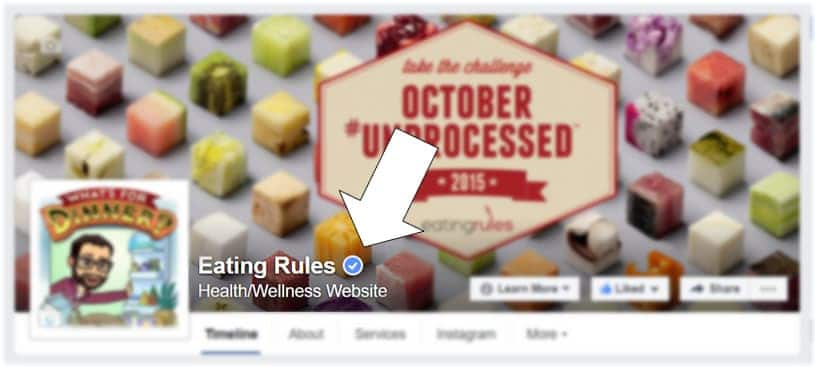 Facebook page verification checkmark