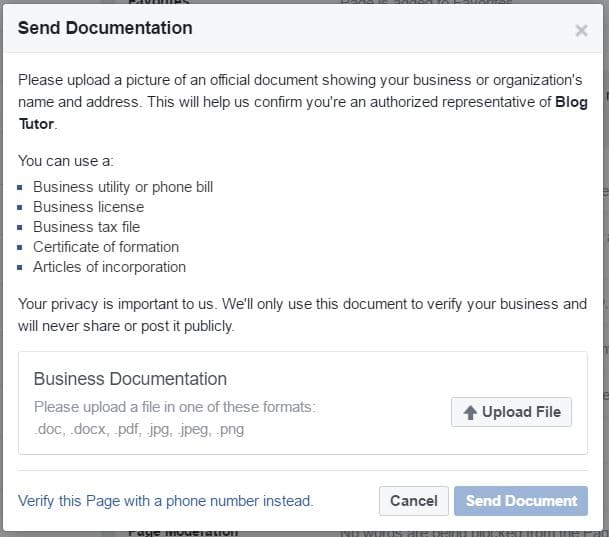 Facebook document verification