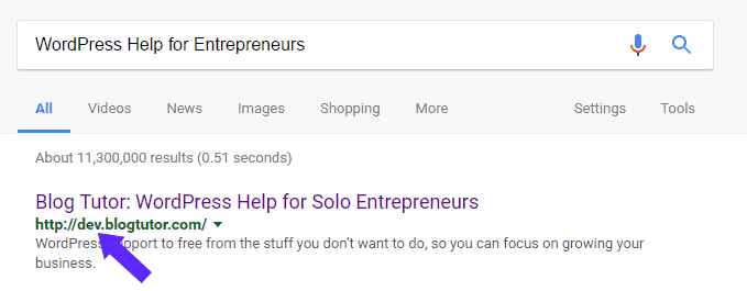 Dev Site showing up in search results