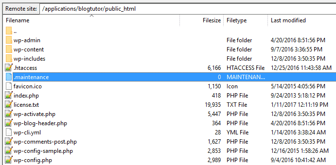Screenshot from FileZilla FTP