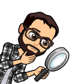 Cartoon of Andrew holding a magnifying glass