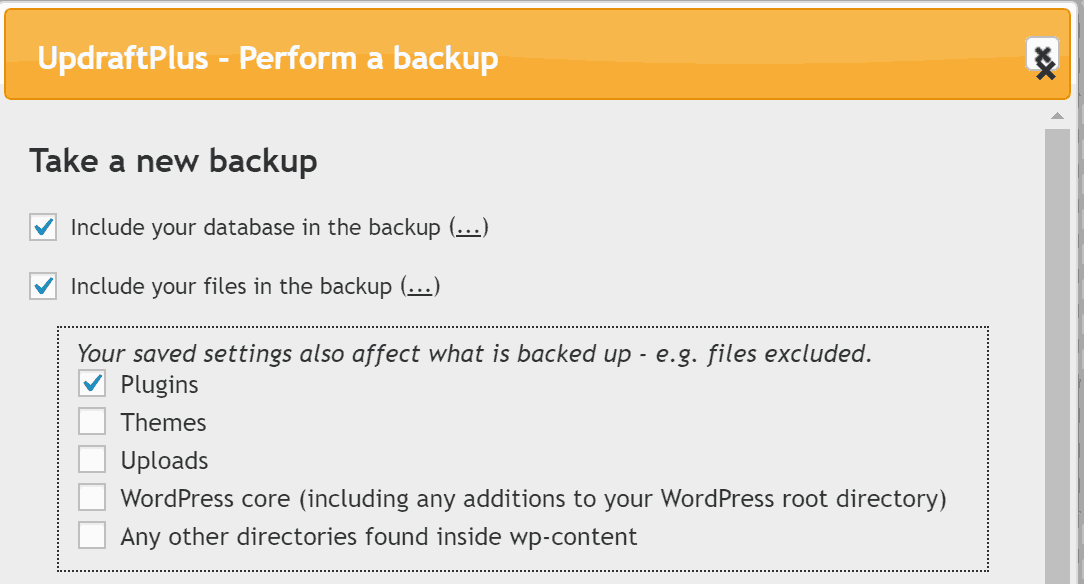 Screenshot of UpdraftPlus backup settings.