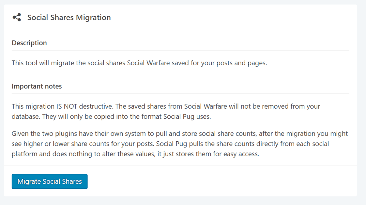 Screenshot of Social Pug share migration tool