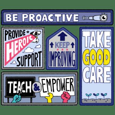 Illustration of the five core values at NerdPress
