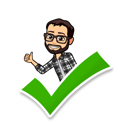 Cartoon of Andrew standing behind a green check mark giving a thumbs-up.