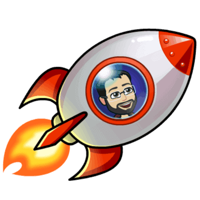 Cartoon of Andrew in a rocket ship