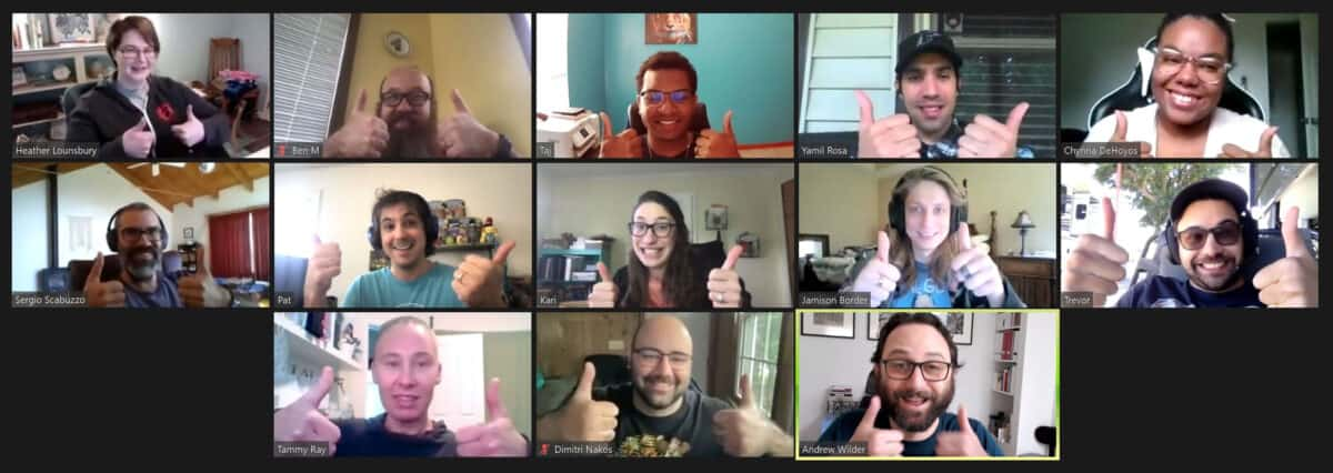 The NerdPress Team on Zoom, giving the thumbs-up sign